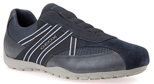 Geox U823FB Uomo Ravex Sportlicher Herren Sneaker, Halbschuh mit Gummizug, Schlüfschuh, Slipper, Freizeitschuh, Atmungsaktiv Blau (Navy), EU 44