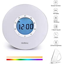 Gr4tec Luz Despertador LED Wake up light Reloj Luz de Noche Táctil Regulable FM Radio Digital 7 Colores Ajustable Lampara Ambiente