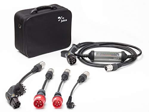 Juice Booster 2 Ladegerät Plug & Play für Elektroautos 32A 3-Phasig, 1-Phasig Typ 2 AC | Wallbox inkl. CEE32, CEE16, Schuko und Typ 2 Adapter | IEC 62752, IP67, FI A und FI B - Keine Plug-ladestation