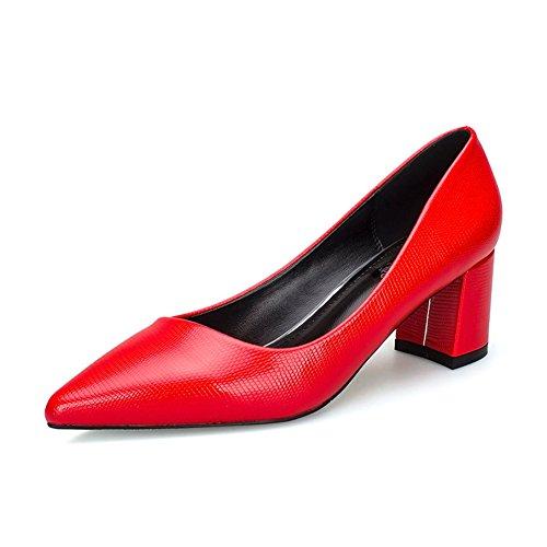 Damen Pumps Slip On Spitz Zehen Arbeitschuhe Blockabsatz OL Elegant Party Schuhe Rot,Karo