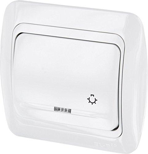 UP Taster mit Licht-Symbol + LED - All-in-One - Rahmen + Unterputz-Einsatz + Abdeckung (Serie T1 alpinweiß) Serie Led-licht