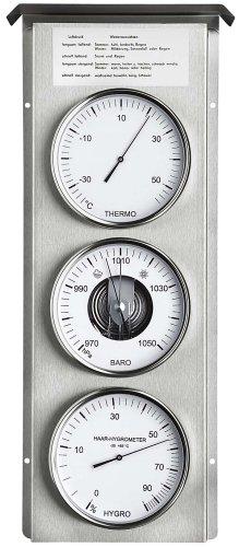 Eschenbach Stazione meteorologica meccanica, da esterni, in acciaio INOX, con barometro aperto