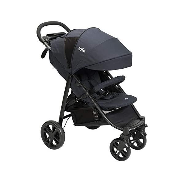 Joie Litetrax 4 Pushchair Navy Blazer  Bumper bar, raincover, shopping basket and parent tray with cupholders UPF 50+ sun canopy and oversized expandable hood SoftTouch 5-point safety harness adjusts to 3 heights 4-position recline and 2-position leg rest One-hand instant fold with automatic lock 9