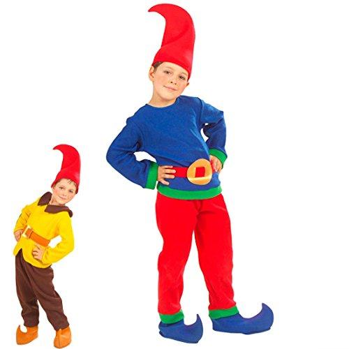 Amakando Zwergenkostüm Wichtelkostüm für Kinder 116 blau, rot -