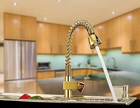 UHM Gold ziehen Sie Bad Küche Waschbecken Wasserhahn Mischbatterie Standmontage Messing