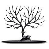 Schmuckständer, iTECHOR Kreative Sikawild Baum Schmuck Zahnstange Gestell Regal Ständer Halter Regallager Ausstellungsstand Organisator Schmuckständer für Ohrring Halskette Armband Ring und andere Schmuck---Schwarz