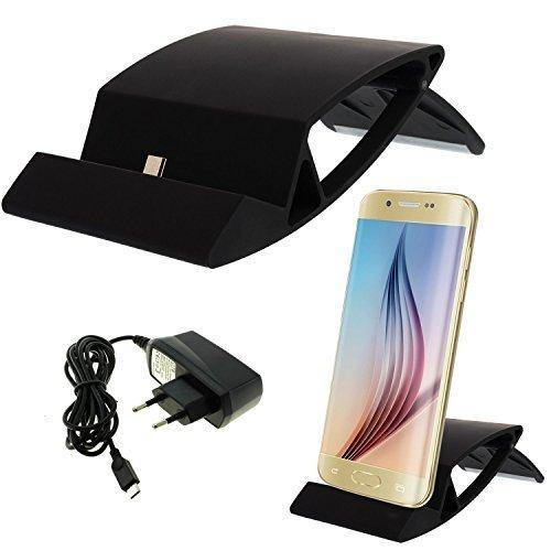 Universal Micro USB Ladestation + Netzteil für Smartphone Handy für Samsung Galaxy S2 S3 S4 S6 Edge Mini, Alpha 3 5 7, Note 1 2 3 4, Sony Xperia Z4 Z3+ Z3 Z2 Z1 compact Mini, HTC ONE M9 M8 M7 mini, Nokia Lumia 532 535 640 640XL XL 930 Blackberry , LG G2 G2S G3 G3S, Motorola Moto G X, HTC One M7 M8 M9 Butterfly Desire 500 600 601 610 816 Eye Evo 3D, Huawei Honor Ascend Y300 Y330 Y530 P8 P7 P6 G6 P1 , Docking Station Tischladestation Dock Lade - Schwarz