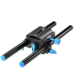"""Neewer Universal Aluminum 15mm Rail Rod Support System High Riser DSLR Camera Mount Baseplate 9.8""""/25cm Long with 1/4"""" Screw Quick Release Plate for Follow Focus Matte Box"""