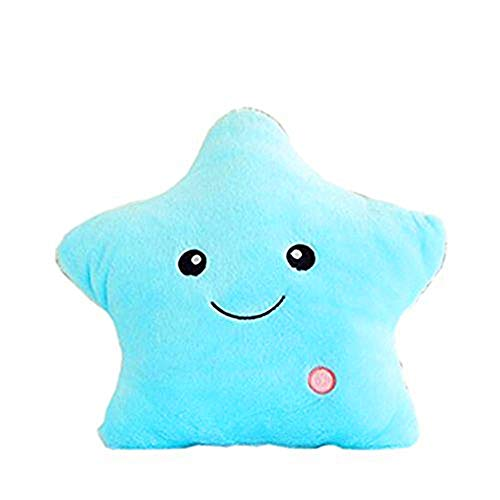 Missley LED estrella cojín almohada brillante luz hasta coloridos brillantes LED estrella peluche almohadas muñeca de juguete de peluche para decoración regalos (Blue)