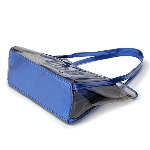Zicac Grande borsa da spiaggia a tracolla, in PVC trasparente, color caramella, con sacca interna con zip Blu