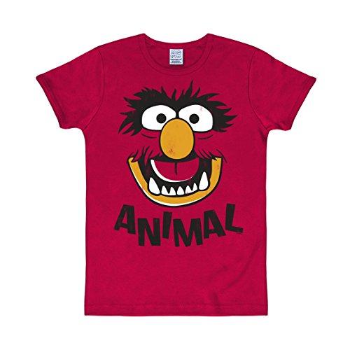 Logoshirt T-Shirt Animal - Muppet Show - Original T-Shirt rot - Lizenziertes Originaldesign, Größe ()