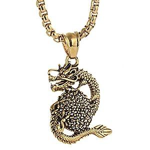 AmDxD Titan Stahl Herren Halskette Drachen Form Design Edelstahlkette Herrenkette Gold mit Zirkonia