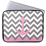 qidushop Monogram Pink Pastel Anchor Gray Chevron Pattern 11.6-12 inch Computer Sleeve Laptop Case Soft Neoprene Breathable Case Bag for Teens
