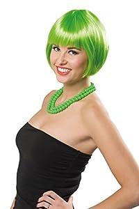 Folat Peluca Page Cabeza Neon Verde Carnaval Halloween fastnacht