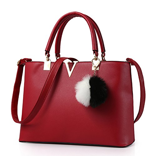 BYD - PU Leder Damen Handtaschen Umhängetaschen Totes Hangbag mit Mutil Taschen (Louis Rot Vuitton Leder)