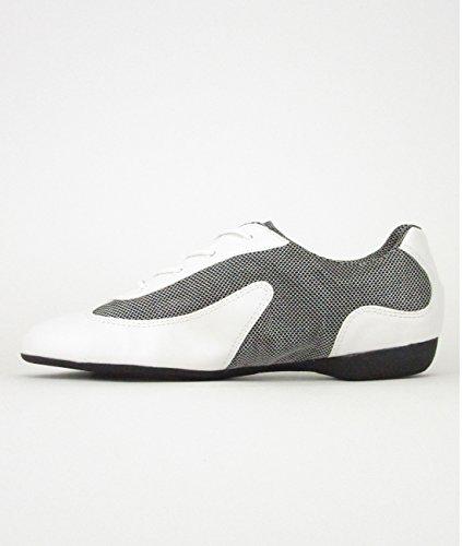 Só Dança DK30 Dance Sneaker Synthétique/Mesh Chaussures de Danse Salsa Lindy Swing Pro Trainer Sneaker semelle entières PU noir/argenté, blanc/argenté, caramel/doré, noir, rouge blanc/argenté
