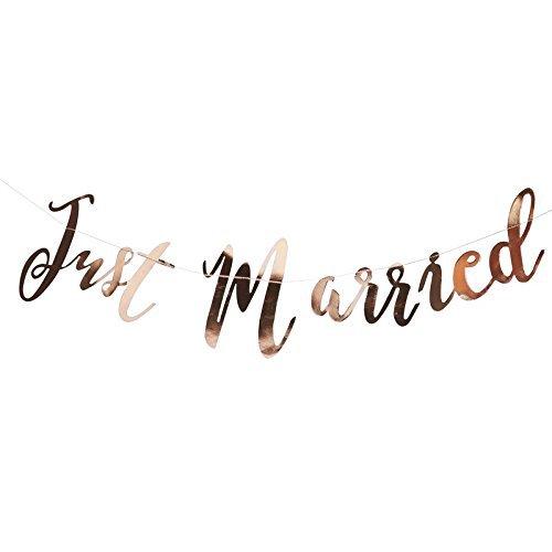 Hochzeits Girlande Wimpelkette Just Married in kupfer/ rosegold