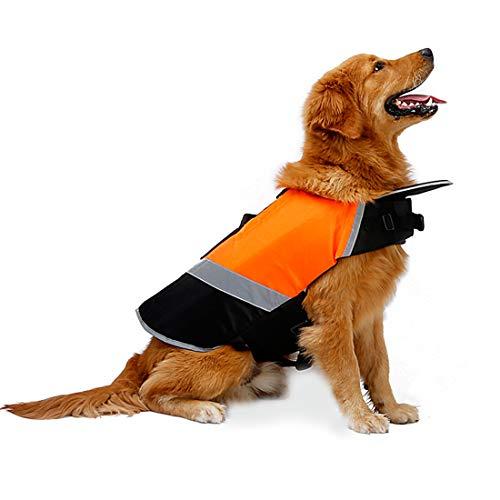 RC GearPro - Wasserdichte Hunde-Schwimmwesten mit zusätzlicher Polsterung für Hunde (L, orange) -