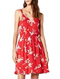 ONLY NOS Damen Kleid onlKARMEN S/L Short Dress AOP WVN NOOS, Mehrfarbig (High Risk Red AOP:Red Flower Print), 44