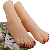 ZNXY 1 Pair Silicone Female Foot Life Size Mannequin as Sketch Nail Art Practice Jewelry Shoe Sock Display
