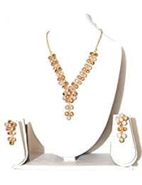 GO-FOR-IT.Gold Plated Diamond Necklace With Matching Ear Ring Set.