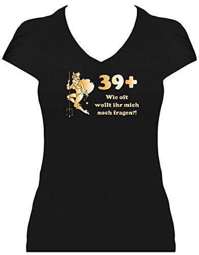 Fun Shirt 40. Geburtstag Teufel Gold mit Spruch 39+ wie oft wollt ihr mich noch fragen, T-Shirt, Grösse M, schwarz