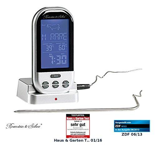 Rosenstein & Söhne Bratenthermometer: Funk-Brat-/Grillthermometer, externes XXL-Display, 8 Fleischsorten (Backofen Thermometer Funk)