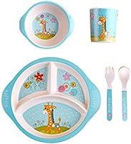 TD HOME 5pcs Bamboo Fiber Tableware Set For Children