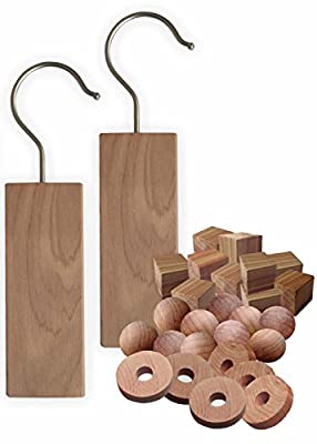 28 Cedar Hanging Block Set, Natural Moth and Odour Cedar Hanging Blocks and Moth Balls for Clothes, Wardrobes, Draws and Cupboards
