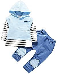 0d5a49dbe K-youth Conjuntos Bebe Niña Sudaderas con Capucha Bebé Niño Niña Rayas  Camisetas de Manga Larga Tops y Pantalones Ropa Bebe Niña…