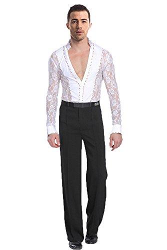 Kostüm Tanz Herren - BOZEVON Herren Klassiker Latein Tanz Hemd Anzug Kostüme Performance Tanzen Spitze Hemd & Hose Jazz Outfits, Weiß(Set), Tag S = EU XS