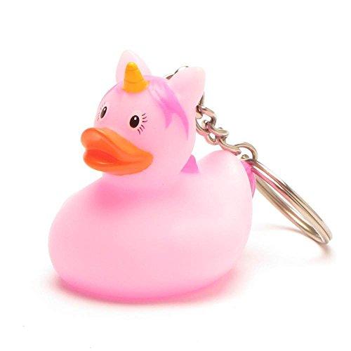 Einhorn pink Quietscheente I DUCKSHOP I Badeente I L: 4,5 cm (Gummi-ente Schlüsselanhänger)