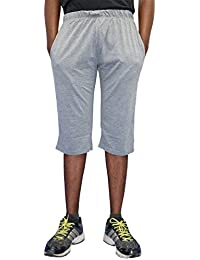 ELK Mens's Grey Cotton Three Fourth Capri Shorts Trouser Clothing Set