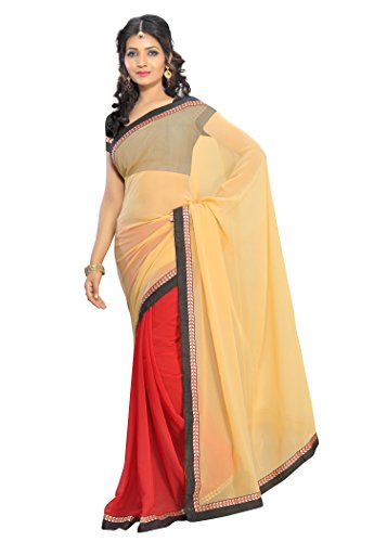 Florence Beige and Red Chiffon Embroidered Saree  available at amazon for Rs.622