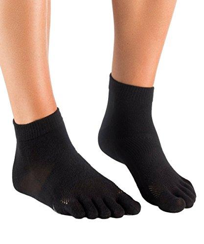 Knitido MTS Ultralite | Lauf-Zehensocken mit In-Shoe-ABS, aus atmungsaktiver Coolmax-Faser®, Größe:43-46, Farbe:schwarz (Zehensocken Coolmax)