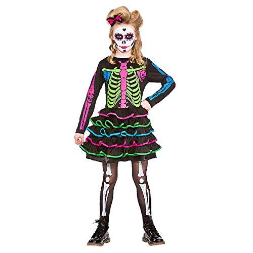 Alter 11/13 Jahre - 146-158 cm Neon Skelett Kinder-Halloween-Kostüm-Abendkleid Kind Mädchen Skully