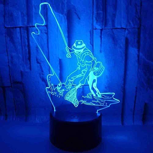 Angeln Bunte 3D Lampe Illusion Lampe 3D Led Kleine Acryl Nachtlicht Touch Schalter Weiß Basis Schöne Leuchten - Angel-touch-lampe