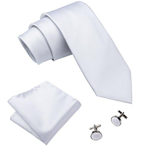 Hi-Tie Pure White Men's Necktie Set Formal