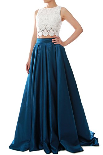 MACloth Women Two Piece O Neck Lace Long Prom Homecoming Dress Evening Ball Gown Teal