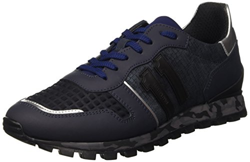 Bikkembergs Numb-Er 650 Shoe M Leather/Lycra, Scarpe Low-Top Uomo, Blu (Navy), 43 EU