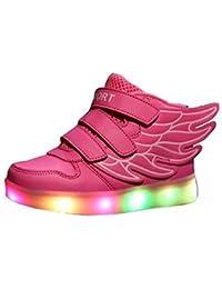 Littlepanda Zapatos Led Niñas Deortivos Para 7 Color USB Carga LED Luz Glow USB Flashing Zapatillas niño (Elegir 1 tamaño más grande)