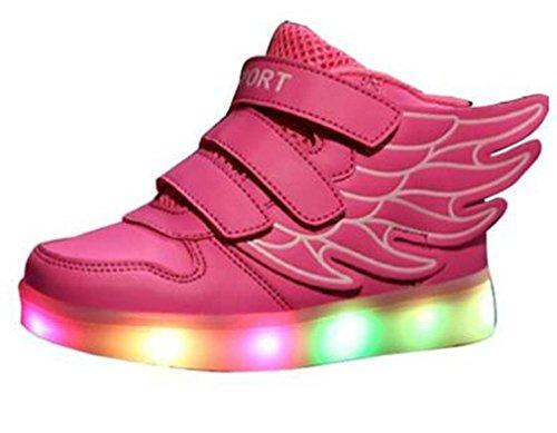 Littlepanda Kinder Jungen Mädchen Bunte LED leuchtet Sneakers athletische Schuhe mit Flügel mit USB mit einem Geschenk von Kopfhörer Rosa