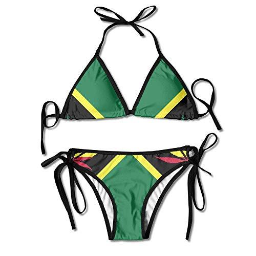 Bikini Swimwear Jamaica Flag Weed Leaf Womens Sexy Thong Soft Padded Bikini Set Two Piece Swimsuits - Black Skirted Thong