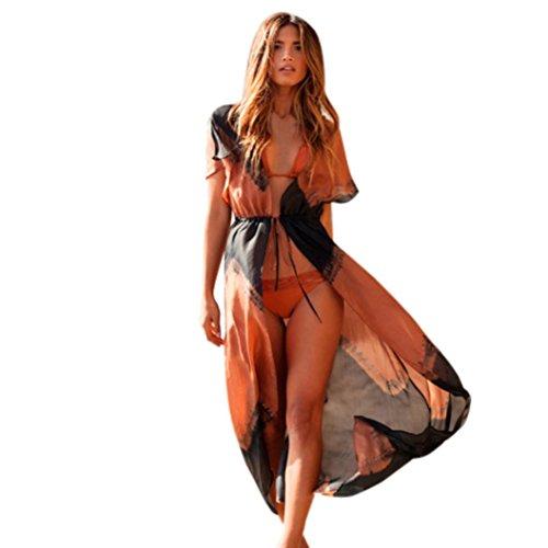 Homebaby Copricostume Mare Cardigan Kimono Elegante Donna Chiffon - Vintage Estivo Scialle Sexy Loose Vestito Lungo Estate Boho Tunica Etnica Abito da Spiaggia (M, Arancione)