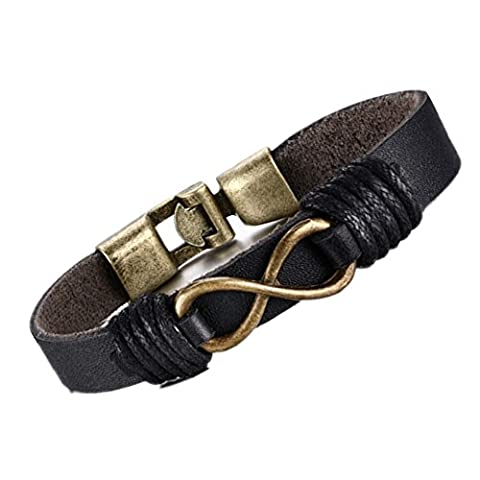 MULBA Men's Vintage Leather Wrap Wrist Band Rope Bracelet Sl3363 (infinity bracelet) ¡