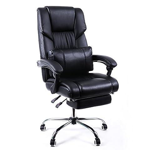Songmics Fauteuil de bureau Chaise pour ordinateur avec repos-pieds pliable dossier réglable simili cuir