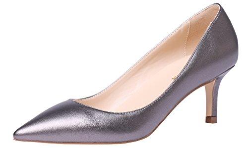 AOOAR Damen Kitten-Heel Elegante Silber-Grau PU PumpsSchuhe EU 38