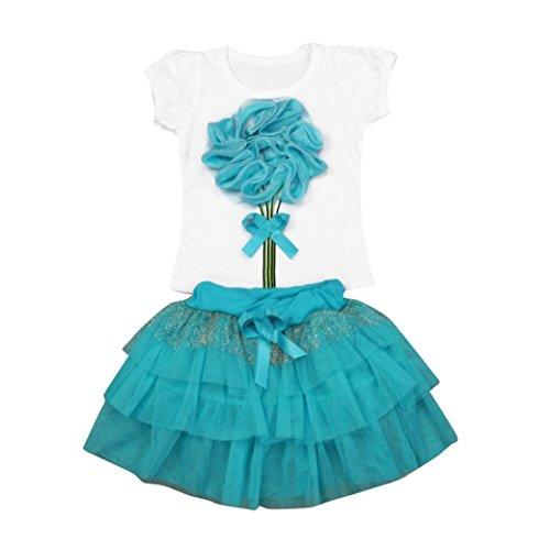 Bekleidung Longra Baby Kindner Mädchen Blumen Kleid Kurzschluss Hülsen Oberseiten Sommer Kurzarm T-Shirt Tops + Rock Ausstattungs Kinder Kleidung Sets (2-5 Jahre) (110CM 4Jahre, (Top Mini Satin Hut)