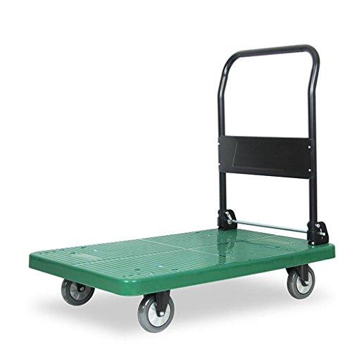 DELLT- Hand-LKW-Flachbett-LKW-Laufkatzen-LKW-Van Kleiner Anhänger-Zug-Rod-Auto-Plastikkörper-kleiner Wagen-Gepäck-Karren-grüne Geschäfts-Belastbarkeit 200 ~ 400kg ( größe : L-90*60*91CM ) (Leichtes Gepäck-karre)