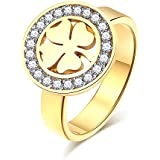 Crystal lucky clover flower ring, stainless steel gold \ silver